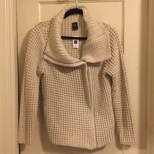Gap Crochet Cowelneck Zip Sweater